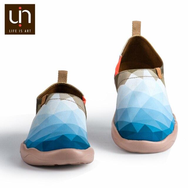 UIN sabah orijinal tasarım boyalı kanvas ayakkabılar erkekler moda makosen ayakkabılar geniş ayak mavi Sneakers hafif konfor rahat ayakkabılar