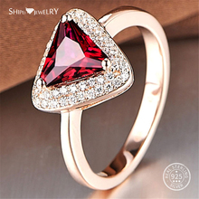 Shipei Genuine Triangle Ruby Ring For Women 100% Sterling Silver Engagement Wedding Fine Jewelry Anniversary Gift