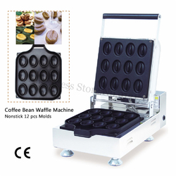 Coffee Bean Waffle Machine New Coffee Bean-shaped Waffle Baker Adjustable Thermostat 1600W 220V 110V CE Approval
