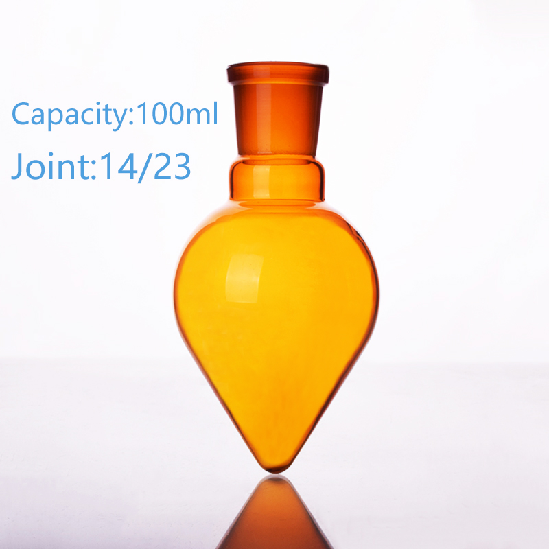 Brown pear-shaped flask,Capacity 100ml,Joint 14/23,Brown heart-shaped flasks,Brown coarse heart-shaped grinding bottlesBrown pear-shaped flask,Capacity 100ml,Joint 14/23,Brown heart-shaped flasks,Brown coarse heart-shaped grinding bottles