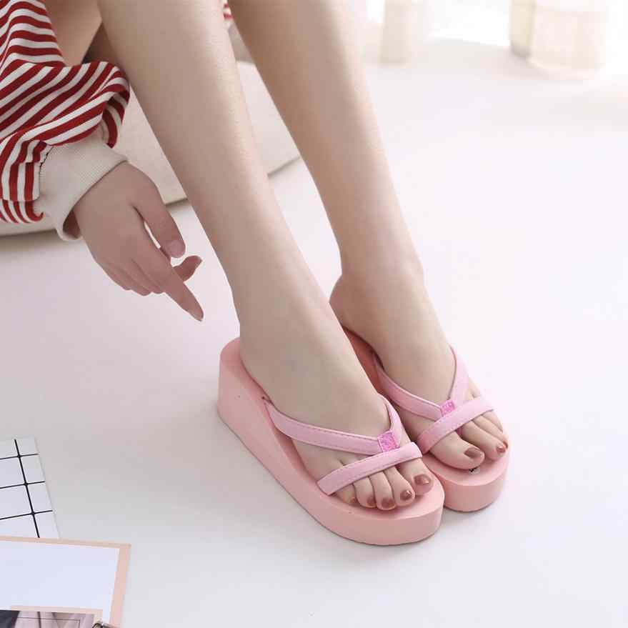 894942f425bb ... large size Women s Comfortable Summer Soft Wedge Sandals Fashion  Slipper Flip Flops Beach Wedge Thick Sole ...