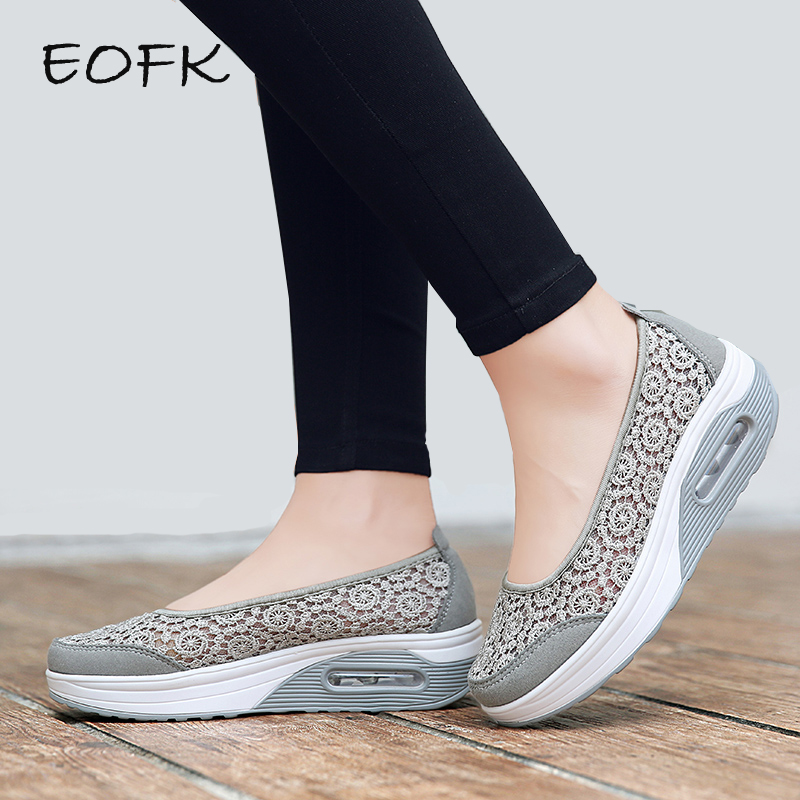 EOFK Summer Women Platform Shoes Woman Flat Casual Shoes Lady Slip On Mesh Comfort Sweet Black Lace Fabric Shoes zapatos mujer