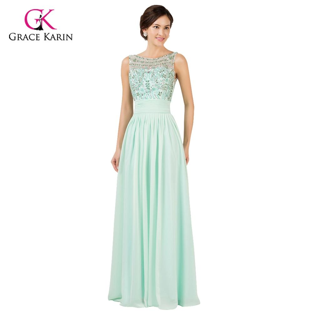Light Mint Green Long Chiffon Bridesmaid Under 50 Grace Karin 2017 Prom Bridesmaids Wedding Party Dress