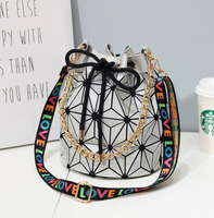 Fashion Geometry bucket for women Shoulder Laser Folding Handbags Letter wide Strap Geometric Bag Free Shipping