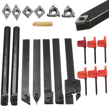 7 шт. DCMT/CCMT твердосплавные вставки + 7 шт. держатель инструмента расточные стержни с 7 шт. гаечные ключи для токарного станка токарные инструме...