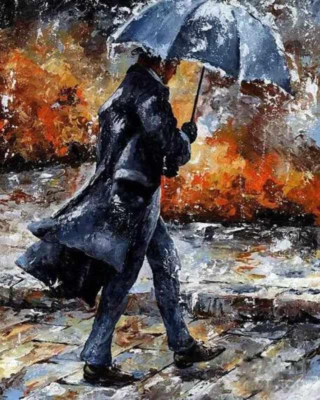 Прогулки под дождем 2 ручная работа краска высокое качество холст Красивая краска ing по номерам Сюрприз подарок большое свершение