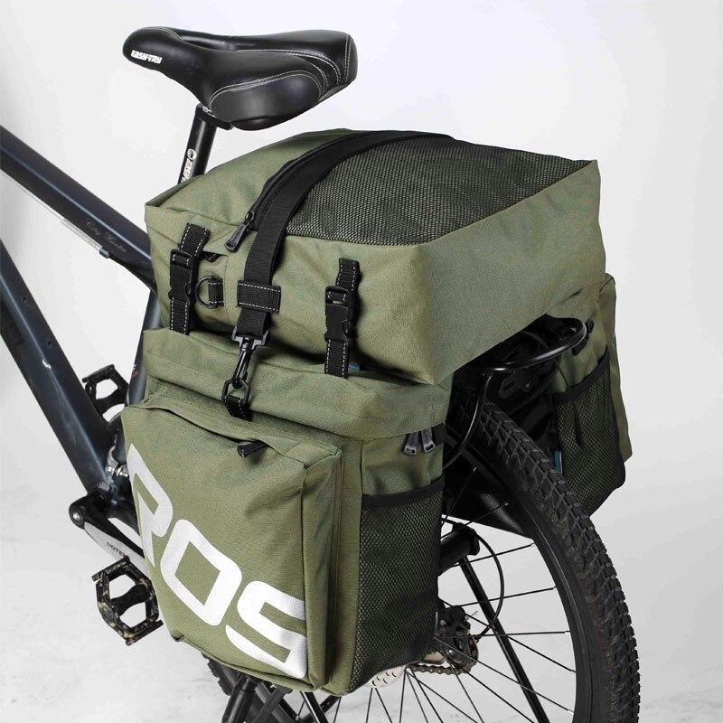 ROSWHEEL Bicycle Carrier Bag Rear <font><b>Rack</b></font> Trunk 37L Bike Luggage Back <font><b>Seat</b></font> Pannier 2 Colors 3 Bags Cycling Saddle Storage 14892