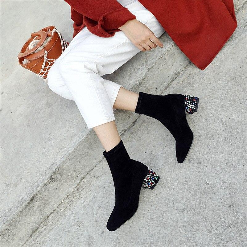 36a401ab2 Oficina Concisa Moda marrón Fedonas gris Tacones Otoño Invierno Mujeres 1  Botas Básica Caliente Altos Toe Negro Tobillo Elegante Zapatos Mujer Señora  ...