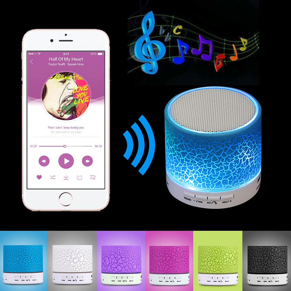 A9 Mini Wireless Bluetooth Speaker W/ LED Hands Free TF USB Subwoofer Loudspeakers Portable 3.5mm MP3 Stereo Audio Music Player s112 3 in 1 portable bluetooth v3 0 stereo speaker w microphone tf aux hands free black