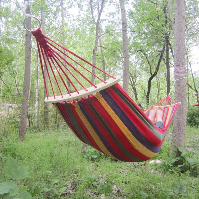 260*100cm High Quality Hammock Travek Summer Camp Portable Outdoor Garden Hang Bed Rest Swing Canvas Stripe Rainbow with Wodden
