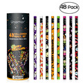 48pcs Halloween Pencil Set with Pen Holder Wooden Black Refill Pencil with Lovely Patterns Gift for Halloween