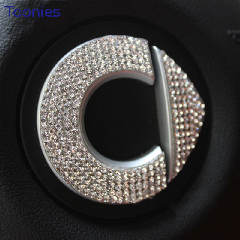 Car decoration sticker accessories personality flash drill logo Smart Fortwo Forfour453 451 steering wheel decal car style cover fashionable bat style 3d car decoration sticker silver