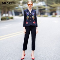 Women S Set New Style Korean Clothing 2018 Spring Casual Office Lady Floral Embroidery Jacket Coats
