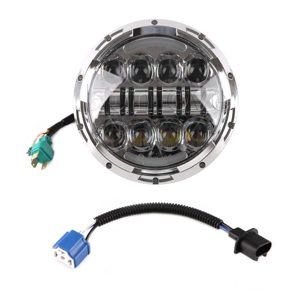 1PC Silver Black 7 80W LED Headlight with H4 to H13 adapter Projector for Jeep Wrangler JK 97-15 & Harley