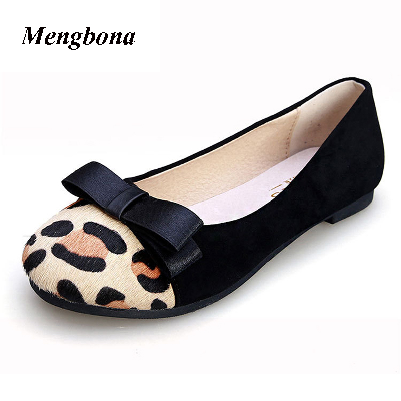 2017 Hot sale Leopard shoes Women fashion Round Toe women Slip on flats sapato feminino chaussure femme zapatos mujer XZ240 hot sale shoes new fashion spring women flats shoes bow toe slip on flat women s shoes plus size 36