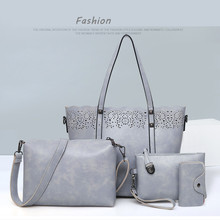 4Pcs/set Hollow Women Handbags Set High Quality Pu Leather Shoulder Tote + Crossbody Bag + Clutch + Coin Purse недорого