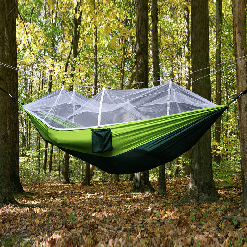 2 Person Outdoor Mosquito Net Parachute Hammock Camping Hanging Sleeping Bed Swing Portable Double Chair Hamac Army Green