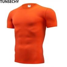 TUNSECHY, модная Однотонная футболка, мужские компрессионные обтягивающие футболки с коротким рукавом, S-4XL, летняя одежда