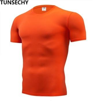 TUNSECHY di Modo di colore puro T-Shirt Uomo Manica Corta di compressione stretto Magliette Della Camicia S-4XL Vestiti di Estate di Trasporto gratuito 1