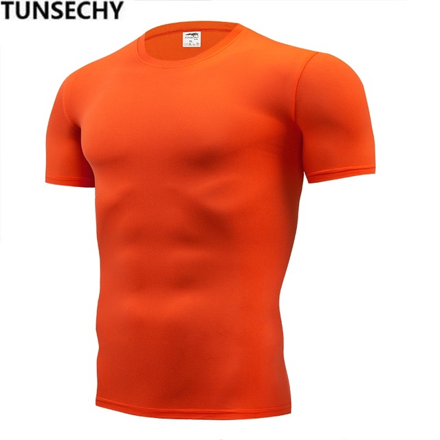TUNSECHY Fashion pure color T-shirt Men Short Sleeve compression tight Tshirts Shirt S- 4XL Summer Clothes Free transportation