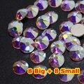 1440 unids/lote, AAA Nueva Facted (8 grande + 8 pequeña) ss20 (4.8-5.0mm) Nail Art Crystal AB Pegamento En No hotfix Rhinestones