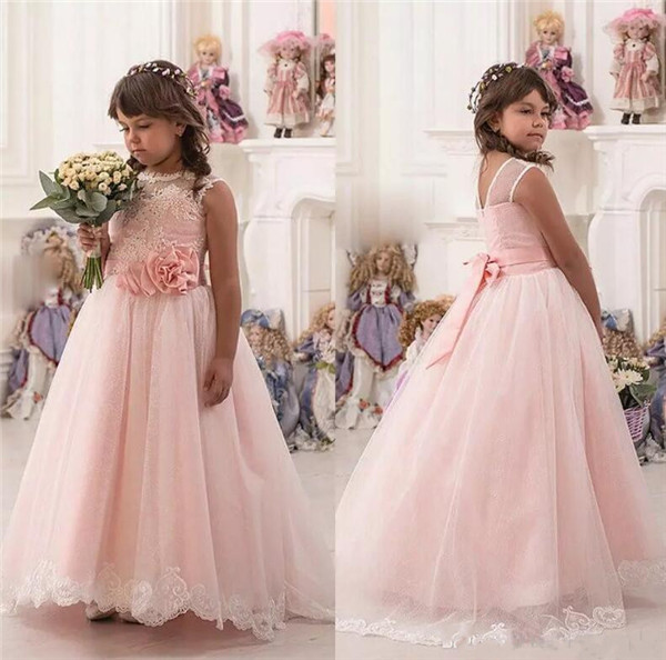 Vintage Flower Girl Dresses For Weddings Blush Pink Custom Made Princess Tutu Appliqued Lace Bow Kids First Communion Gown perfect rifle hunting flashlight uf 1508 ir850nm t38 zoomable powerful torch xre red light lamp holder helpful for night hunting