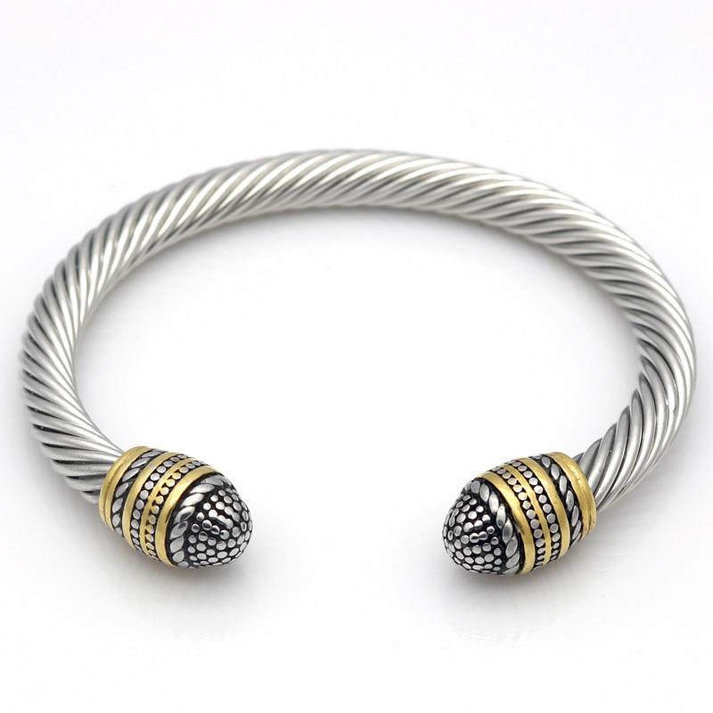 Open Clasp Twist Wires Cuff Bracelets Bangles