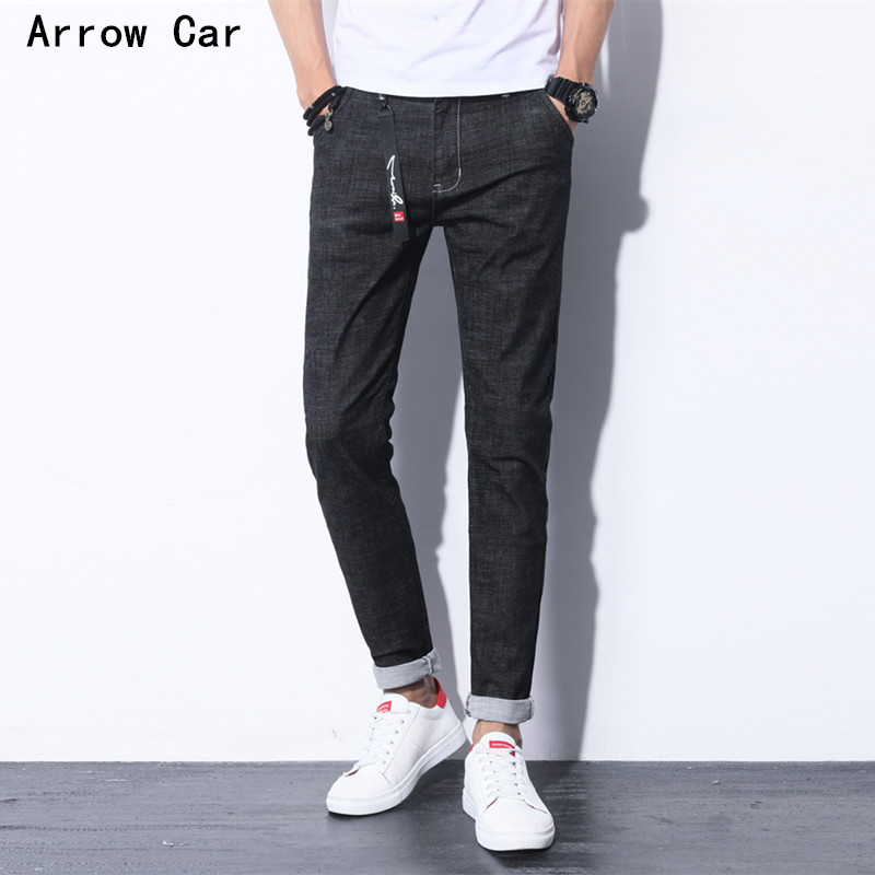 Hommes Jeans Pan 2018 printemps été nouvelle mode britannique mince droite Jeans Simple pieds Slim Jeans hommes marque flèche C
