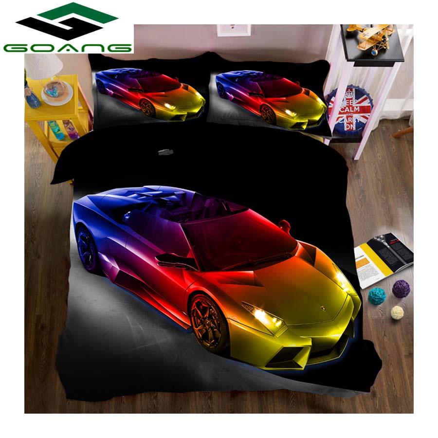 GOANG Boys Bedding Set 3d Bed Sheet Duvet Cover Pillow Case 100% Microfiber Fabric Cartoon Sports Car 3pcs Kids Bedding