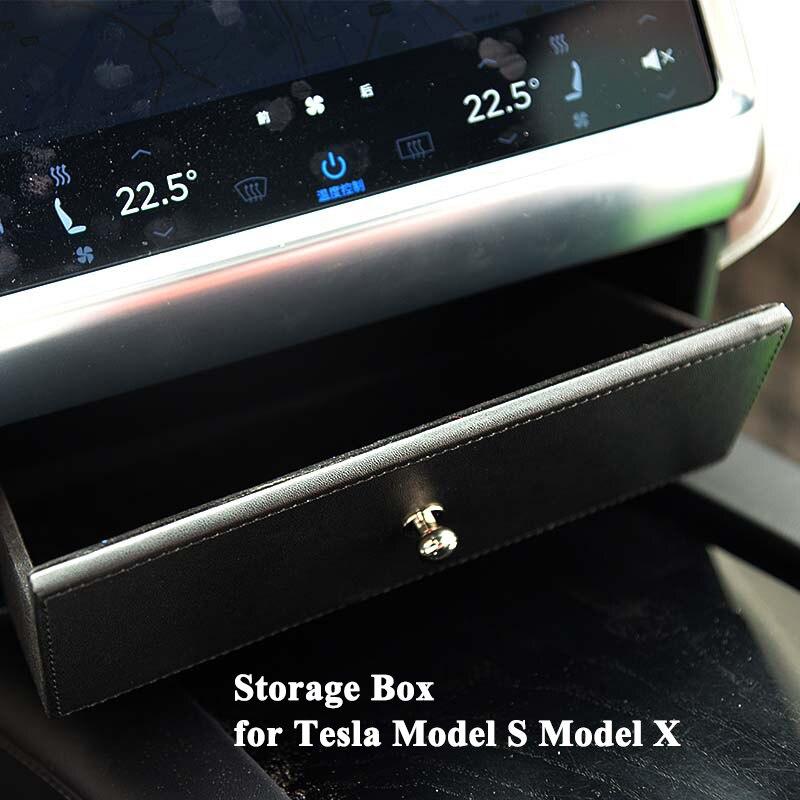 1 pc boîte de rangement de voiture Console centrale organisateur sac tiroir style voiture accessoires intérieurs parfaitement pour Tesla modèle X modèle S