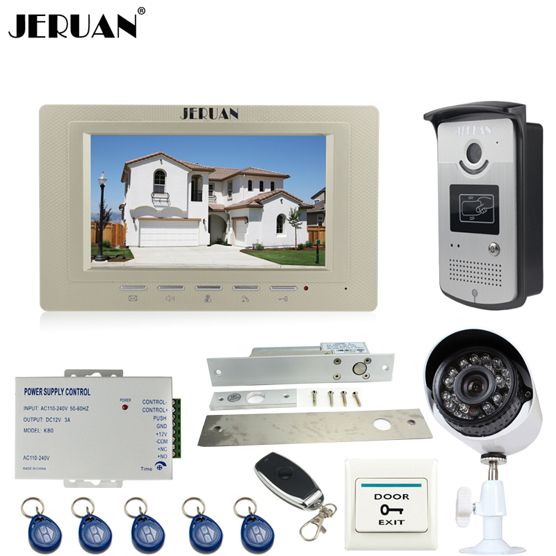 JERUAN Wired 7 inch LCD Video Door Phone intercom System kit  RFID Access IR Night vision Camera + Metal 700TVL Analog Camera