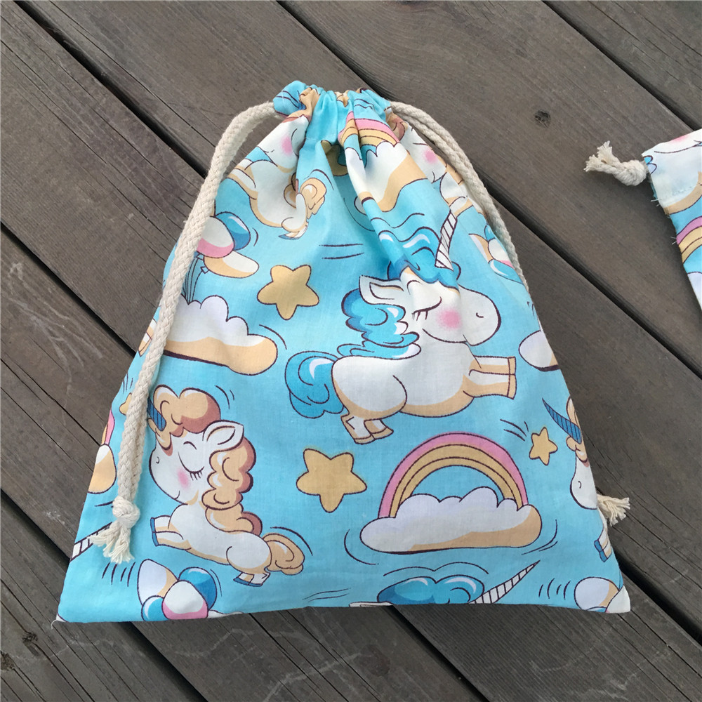 YILE 1pc Cotton Drawstring Clothing Sorted Pouch Party Gift Bag Printed Unicorn Rinbow Clouds Blue Base N9205c