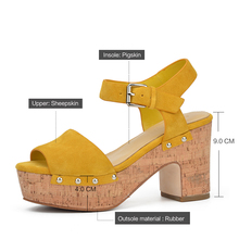 Donna-in Genuine Leather Women Summer Sandals Thick High Heels Ladies Shoes Natural Suede Fashion Platform Sandals for Women