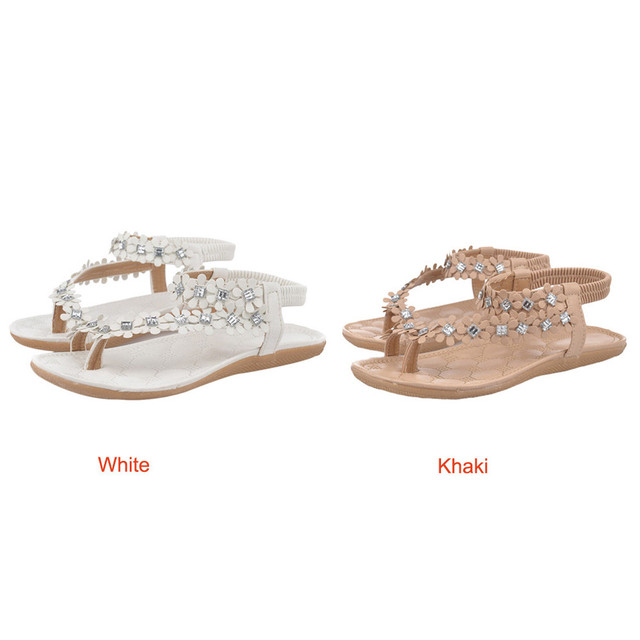 zapatos mujer tacon 2018 Women Summer Bohemia Flower Beads Flip-flop Shoes Flat Sandals zapatillas mujer ladies shoes new hot #7