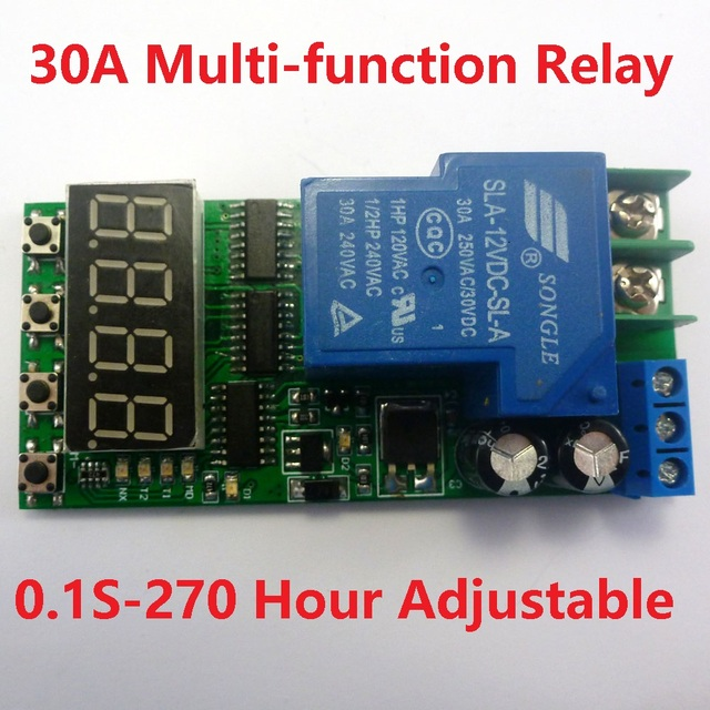 Dc 12v 30a Multifunction Timer Delay Relay Module High Power On Off Adjule For Plc Motor Led Car