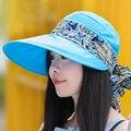 Mujeres protector solar plegable sunbonnet del sombrero del sol del verano al aire libre anti-ultravioleta grande casquillo de la playa del sombrero del verano