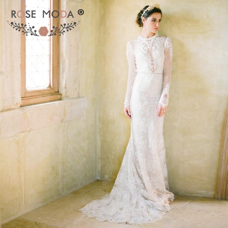Stunning High Neck Long Sleeves Lace Sheath Wedding Dress