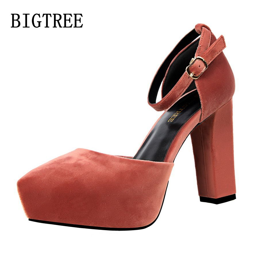BIGTREE spring new fashion simple and thick with the ladies high heels waterproof suede pointed sexy woman shoes free shipping топ спортивный under armour under armour un001ewxrr14