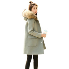 2017 New Winter Women Wool Coat Medium Long Warm Super Large Fur Collar Hooded Coats Oversized Thick Warm Wool Coat SK136