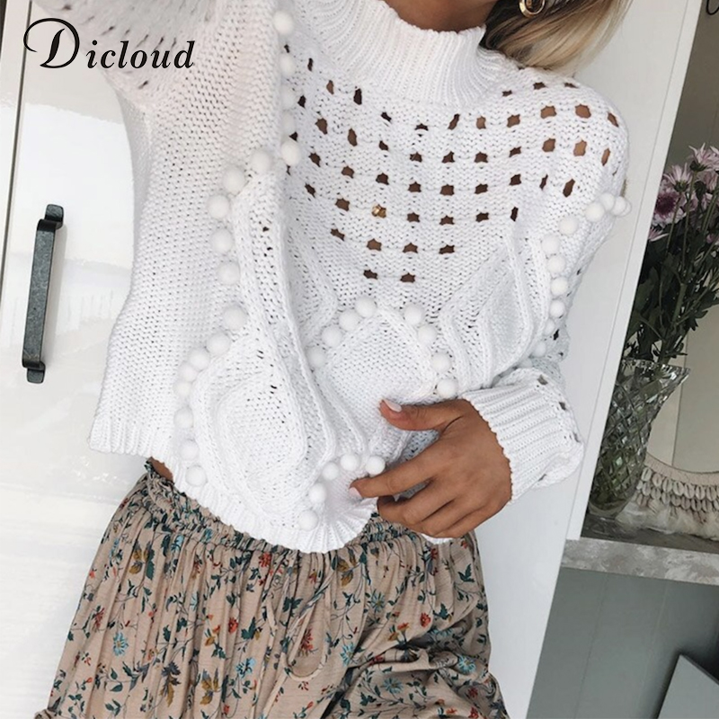 DICLOUD Hollow Out White Sweaters Women Autumn Winter 2019 Turtleneck Long Sleeve Knitted Jumpers Casual Ladies Pullovers Black