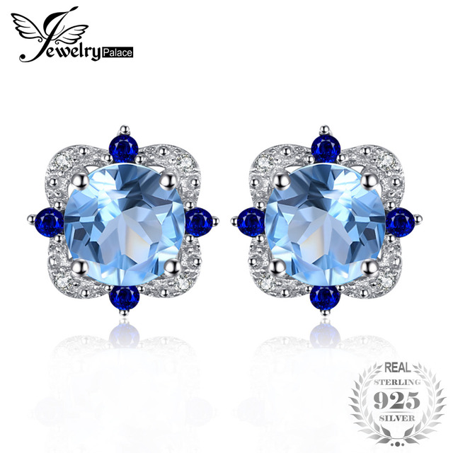 JewelryPalace Fashion Stud Earrings 2.27ct Round Natural Sky Blue Topaz Inlay Sa