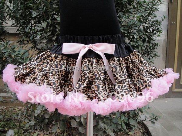 Girls Leopard Tutu Skirt Pink Tutu chiffon baby pink Bow Fluffy Dance Pettiskirts for Children Clothing PETS-070