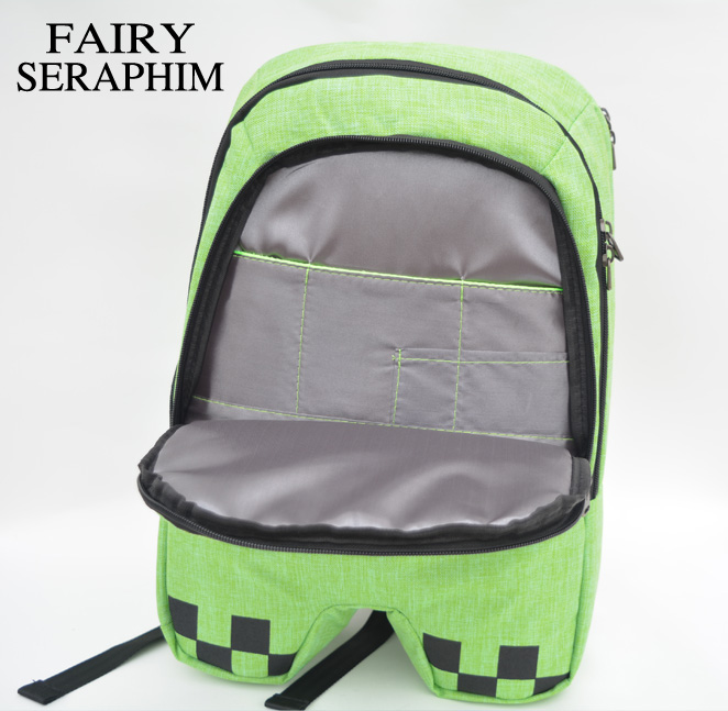 FAIRY SERAPHIM minecraft backpack factory directly children schoolbag boy girls canvas zip green creeper backpacks
