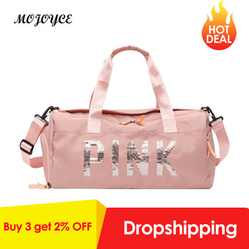 Lady Black Travel Bag Pink Color Sequins Shoulder Bags for Women Waterproof Handbag Weekend Portable Nylon Tote  Bolsas Feminina