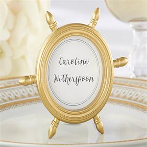 Free Shipping 10pcs Lot Gold Ship Wheel Picture Frame Place Card