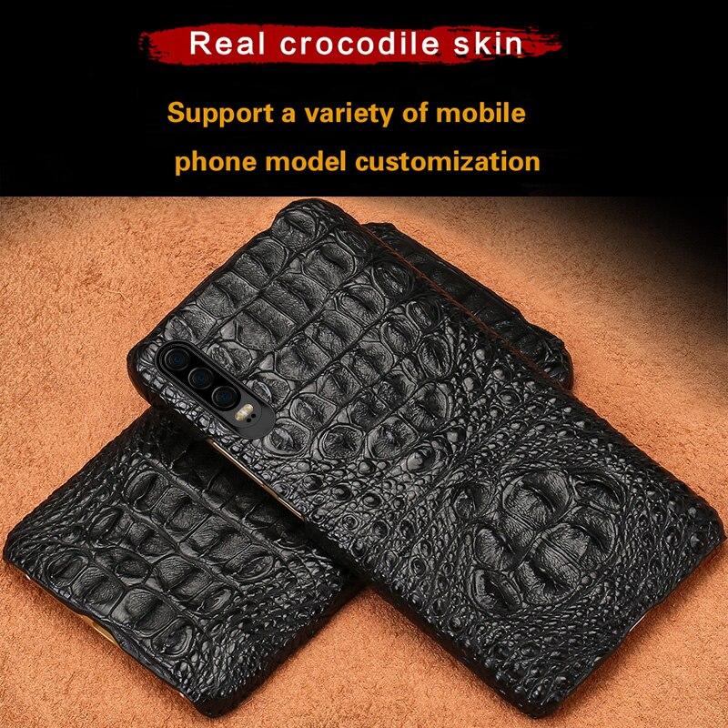 LANGSIDI étui pour huawei crocodile de luxe P30 P20 lite pro coque de téléphone en cuir véritable d'origine pour honour 20 20pro 9X