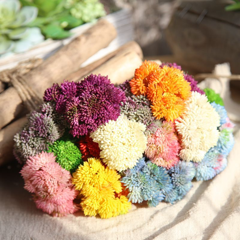 1PC Cute Hydrangea Rice Seed Artificial Fake Soft Rubber Flower Succulent Plant Home Garden Party Wedding Decoration