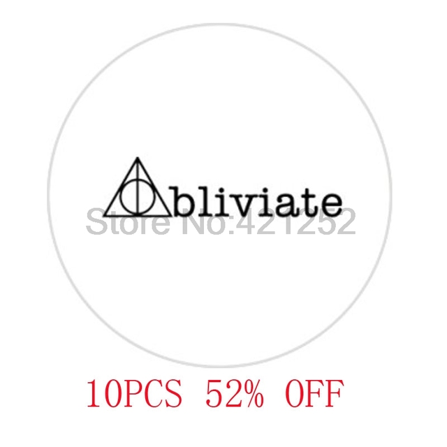 Hp Obliviate Deathly Hallows Symbol Glass Cabochon Necklace
