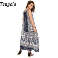 Tengeio 2018 Sommer Indische Elegante Böhmischen Strandkleid Frauen O Ansatz Sleeveless Beiläufige Floral Retro Maxi Boho Indiano S2