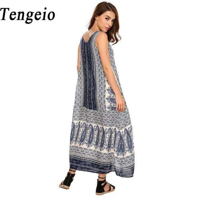 b925cd46c41 Tengeio 2018 Summer Indian Elegant Bohemian Beach Dress Women O Neck  Sleeveless Casual Floral Retro Maxi Boho Dresses Indiano S2
